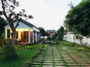 Thảm cỏ sân vườn với lối đi lát gạch
