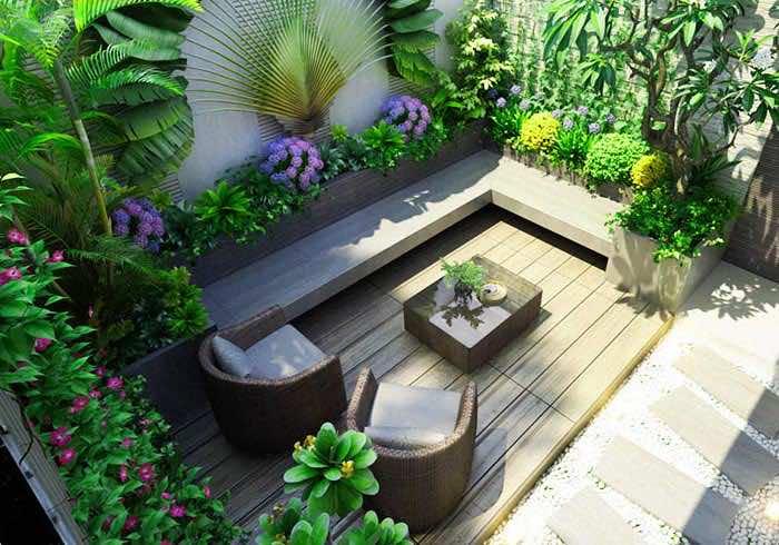 Một góc sân vườn mini